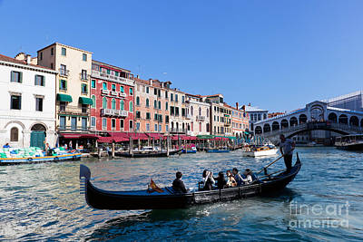 Italy Photograph - Venice Italy Gondola With Tourists Floats On Grand Canal by Michal Bednarek