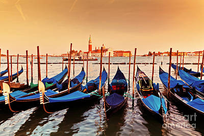 Scenery Photograph - Venice Italy Gondolas On Grand Canal At Sunset by Michal Bednarek