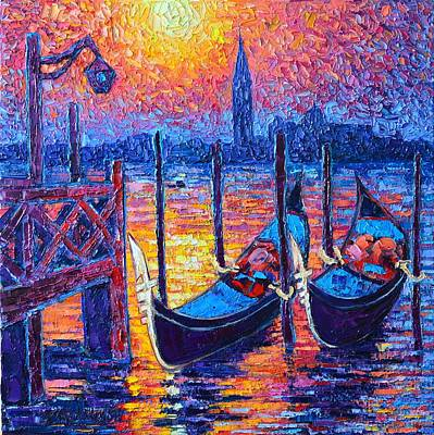 Medieval Painting - Venice Mysterious Light - Gondolas And San Giorgio Maggiore Seen From Plaza San Marco by Ana Maria Edulescu