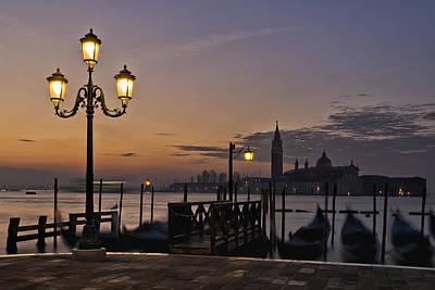 Gondola Photograph - Venice Night Lights by Marion Galt