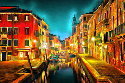 Venice Nights Print by Yury Malkov