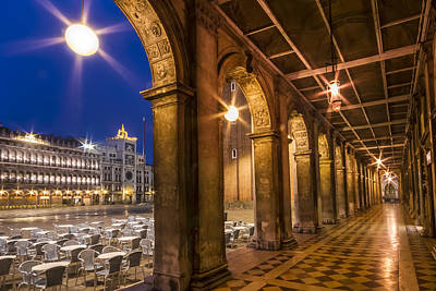 Venice St Mark's Square During Blue Hour Print by Melanie Viola