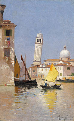 Art-santoro Painting - Venice.  View Of San Pietro Di Castello by Rubens Santoro