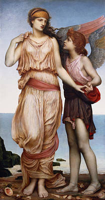 Venus And Cupid Print by Evelyn De Morgan