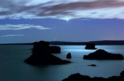 Moonlit Night Photograph - Venus And Meteor Over Reservoir by Luis Argerich