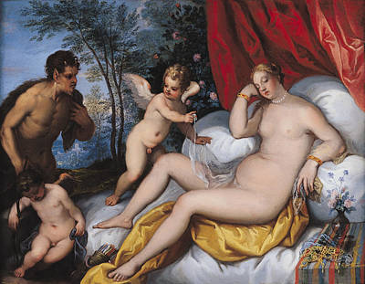 Sleeping Cupid Painting - Venus And Pan by J Brueghel