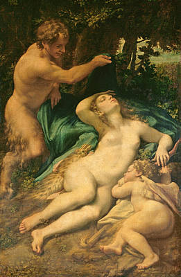 Eros Photograph - Venus, Satyr And Cupid, 1528 Oil On Canvas by Correggio