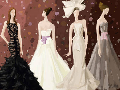 Digital Painting - Vera Wang Bridal Dresses Fashion Illustration Art Print by Beverly Brown Prints
