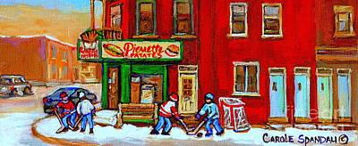 Verdun Art Winter Street Scenes Pierrette Patates Resto Hockey Painting Verdun Montreal Memories Print by Carole Spandau