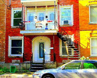 Verdun City Street Triplex Apartment Outdoor Winding Stairs Montreal Scenes Primary Colors C Spandau Print by Carole Spandau