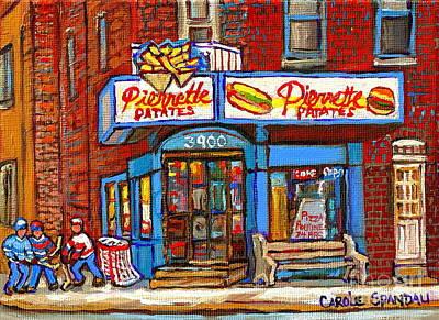 Hamburger Painting - Verdun Famous Restaurant Pierrette Patates - Street Hockey Game At 3900 Rue Verdun - Carole Spandau by Carole Spandau