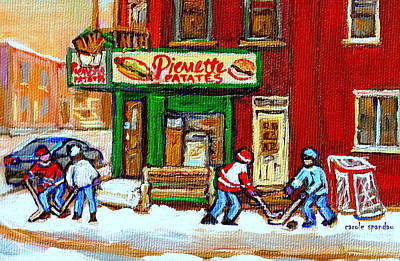 Verdun Landmarks Painting - Verdun Hockey Game Corner Landmark Restaurant Depanneur Pierrette Patate Winter Montreal City Scen by Carole Spandau
