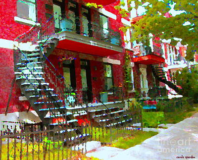 Montreal Memories Painting - Verdun Spiral Staircases Sprawling Balconies Red Brick Duplex Triplex Montreal Scenes Carole Spandau by Carole Spandau