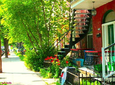 Montreal Memories Painting - Verdun Stairs Red Flowers On Winding Staircase Tall Shade Tree Montreal Summer Scenes Carole Spandau by Carole Spandau