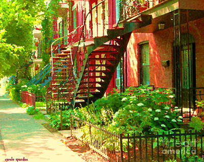 Verdun Stairs Winding Staircases And Fenced Flower Garden Montreal Summer Scene Carole Spandau Print by Carole Spandau
