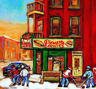 Hamburger Painting - Verdun Street Hockey Pierrettes Restaurant Rue 3900 Verdun -landmark Montreal Hockey Art Work Scenes by Carole Spandau
