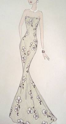 Evening Gown Mixed Media - Verdura by Christine Corretti