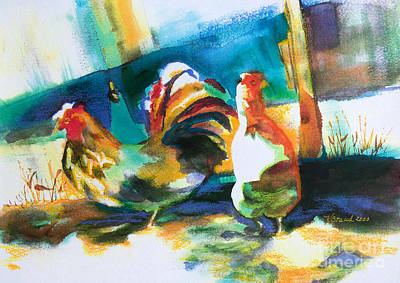 Veridian Chicken Print by Kathy Braud
