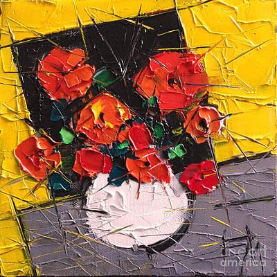 Vermilion Flowers On Black Square Original by Mona Edulesco