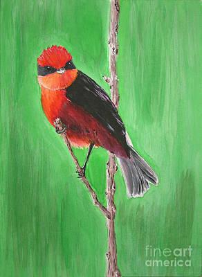Flycatcher Painting - Vermilion Flycatcher  by Popokino Art