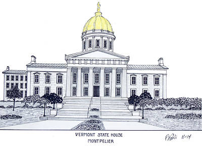 Capitol Building Drawing - Vermont State House by Frederic Kohli