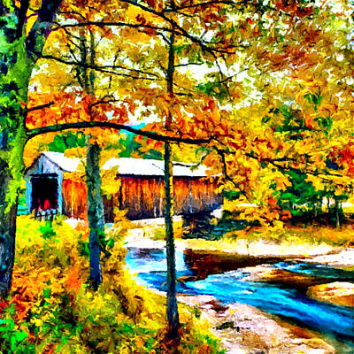 Vermont Covered Bridge Print by Bob and Nadine Johnston
