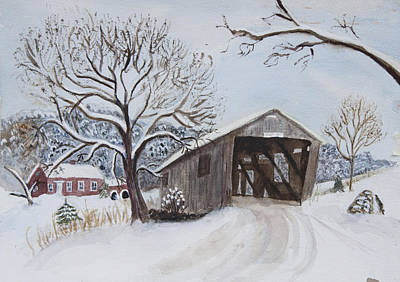 Watercolor Painting - Vermont Covered Bridge In Winter by Donna Walsh