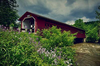 Water Photograph - Vermont Covered Bridge by John Haldane