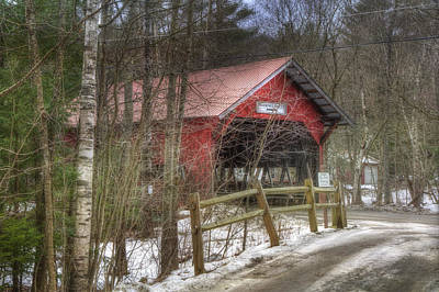 Vermont Covered Bridge - Stowe Vermont Print by Joann Vitali