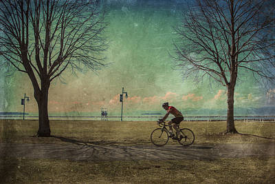 Cloudscape Digital Art - Vermont Lake Champlain Man Bicycle Summer by Andy Gimino