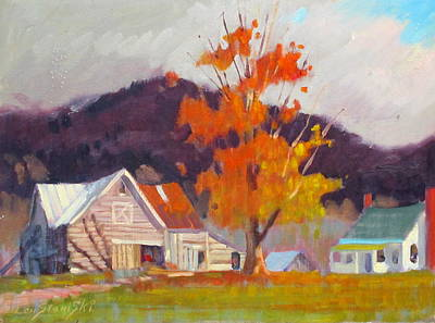 Farm And Barns Painting - Vermont by Len Stomski