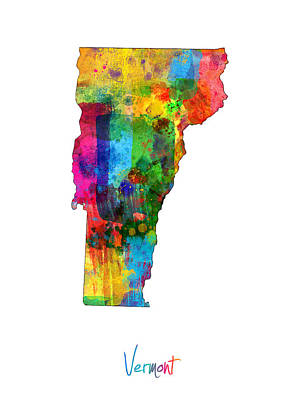 Geography Digital Art - Vermont Map by Michael Tompsett