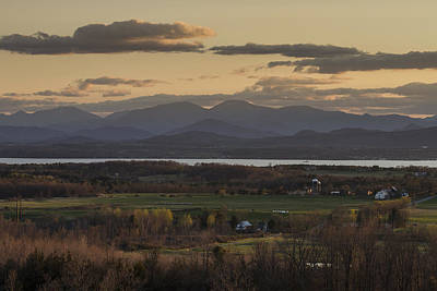 Vermont New York Sunset Lake Champlain Mountains Print by Andy Gimino