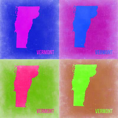 World Map Poster Digital Art - Vermont Pop Art Map 2 by Naxart Studio