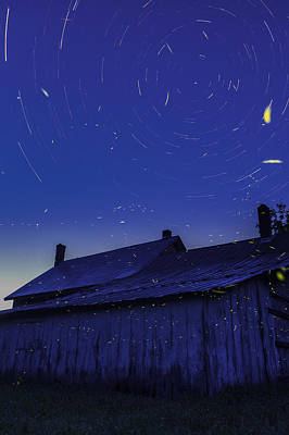 Farm Scene Photograph - Vermont Twilight Blue Hour Farmhouse Startrails Fireflies by Andy Gimino
