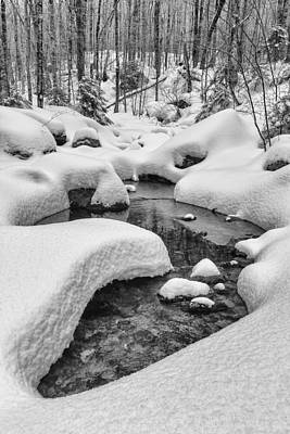 Vermont Winter Landscape Brook Forest Snow Print by Andy Gimino