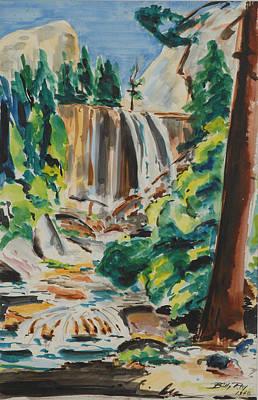 Vernal Falls Yosemite 1948 Print by Billy Ray