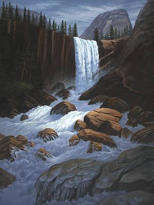 Vernal Falls Yosemite  Print by Del Malonee
