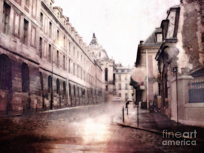 Versailles France Cobblestone Streetscape  - Romantic Versailles Architecture Painting  Print by Kathy Fornal