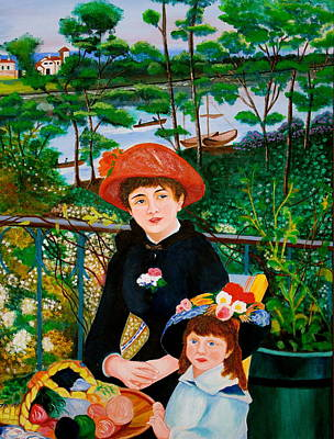 Filipino Painting - Version Of Renoir's Two Sisters On The Terrace by Cyril Maza