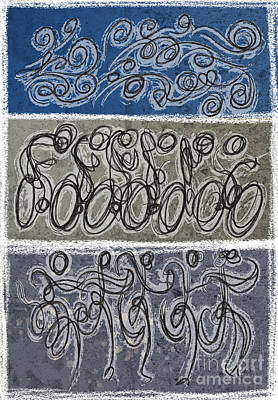 Vertical Blue Triathlon Print by Alejandro Maldonado