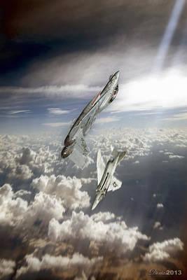 F-14 Digital Art - Vertical Joust by Dorian Dogaru
