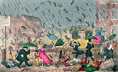 Cats. Victorian Drawing - Very Unpleasant Weather by George Cruikshank