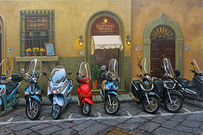 Vespas At The Trattoria Florence Italy Print by Johanna Girard