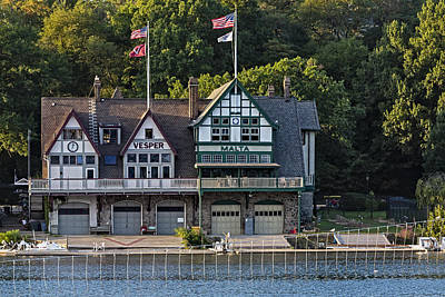 Vesper And Malta Boat Clubs Boathouse Row Print by Susan Candelario