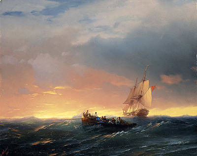 Tree At Sunset Painting - Vessels In A Swell At Sunset by Ivan Konstantinovich Aivazovsky