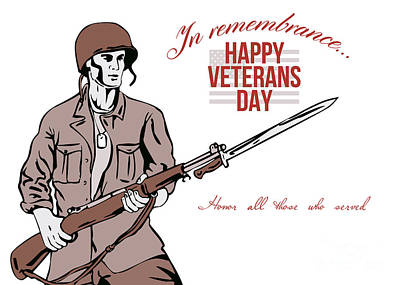 Bayonet Digital Art - Veterans Day Greeting Card American Soldier by Aloysius Patrimonio