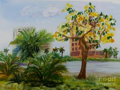 Plein Air Painting - Veterans Park In Delray Beach by Donna Walsh