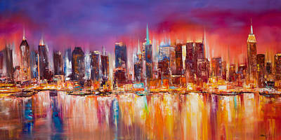 River Painting - Vibrant New York City Skyline by Manit
