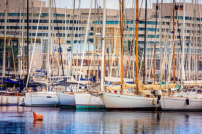Sailboats In Harbor Photograph - Barcelona Port by Pati Photography